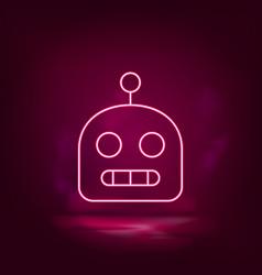 Robot neon icon - artificial intelligence vector