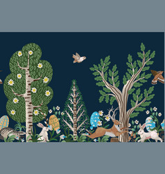 Rustic border with trees rabbits eggs and other vector