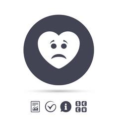Sad heart face sign icon sadness symbol vector
