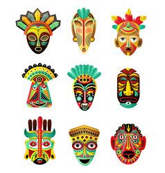 Set colorful ethnic african mexican mask vector
