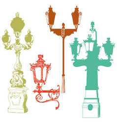 Set of colorful street lanterns vector
