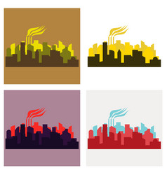 Set of icons - the silhouette of the city in a vector