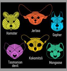 Set of polygonal head animals polygonal logos vector