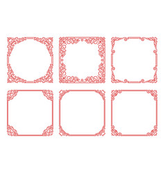 set red square frames in linear art deco vector image