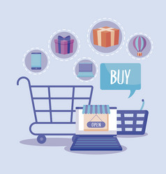 shopping cart with laptop and commercial icons vector image