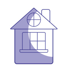 Silhouette house with roof and window vector