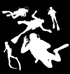 Silhouette of a diver in different poses vector