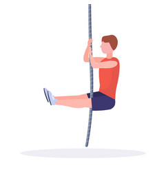 Sporty man doing rope climbing exercise guy vector