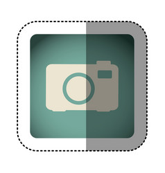 sticker color square with analog camera icon vector image