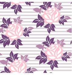 stylized roses flowers on the stropped background vector image