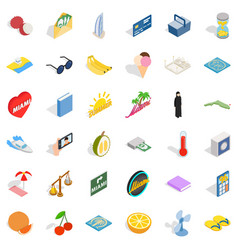 Summer icons set isometric style vector