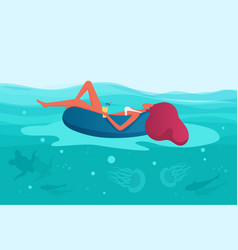 summer vacation woman floating on inflatable vector image