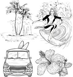 Surfing Design Sketch Set vector image