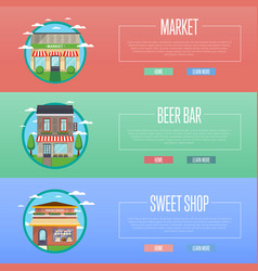Sweet shop market and beer bar banner set vector
