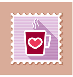 Tea cup with heart and steam thin line stamp vector