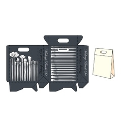 Template small shopping bag for makeup brush set vector