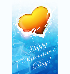 Valentine heart in blue water vector