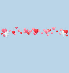 Valentines day panorama banner with heart border vector