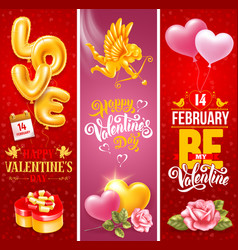 valentines day vertical banners set vector image