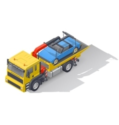 Vehicle tow truck transporting on board a broken vector