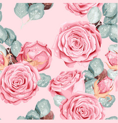 Vintage seamless pattern with pink roses vector