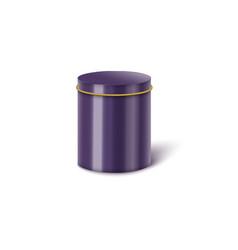 Violet metal cylindrical box mockup realistic vector