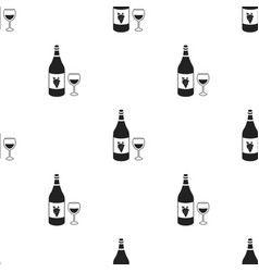 white wine icon in black style isolated on white vector image