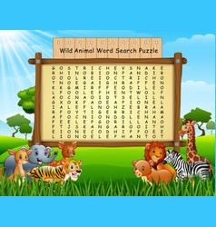 Wild animals word search puzzle vector