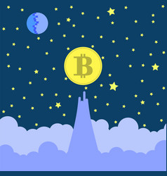 yellow bitcoin icon on blue sky background vector image