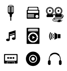 Black Music Icons vector image vector image