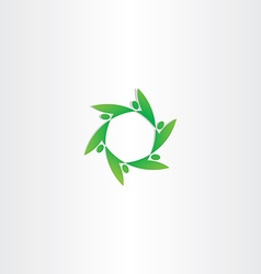 green people in circle ecology logo vector image vector image