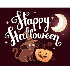 halloween with orange pumpkin cat in witch vector image