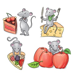 Mice and food vector image