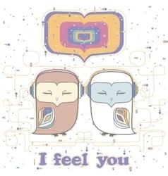 Owl love postcard vector image vector image