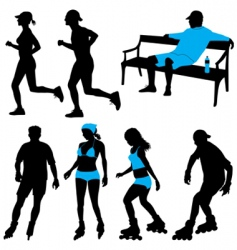 people in park silhouettes vector image vector image
