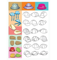 cartoon hats vector image