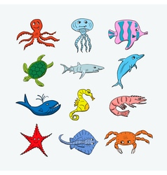 Cute ocean hand drawn animals vector image