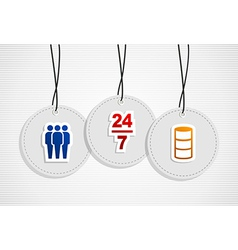Hanging online support badges vector image vector image