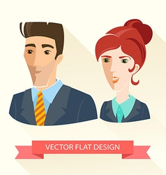 Businessman and businesswoman working team Flat vector image