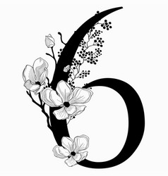 hand drawn floral number six monogram and vector image