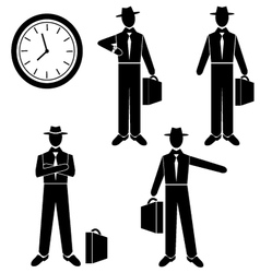 Silhouette of a Businessman waiting for vector image