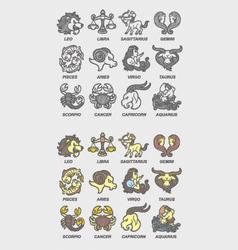 Zodiac icons sketch vector image vector image