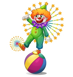 A clown above the inflatable ball vector image vector image