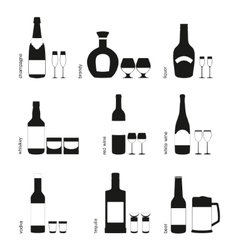 Alcohol drinks glasses and bottles icons vector image vector image