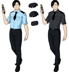 Asian male police officer holds taser vector