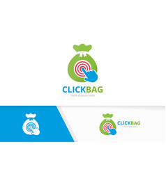 Bag and click logo combination sack and vector