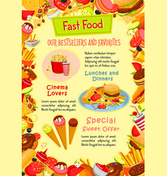 fast food poster of fastfood snacks vector image vector image