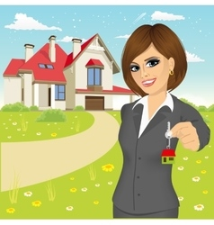female real estate agent vector image