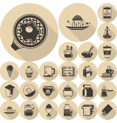Food brown flat icons collection vector image