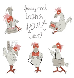 funny cock icons part two vector image